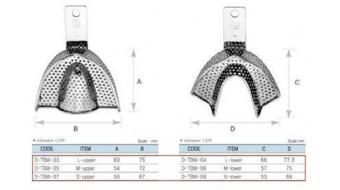 Dental Impression Tray Set, 6 pc, Reg, Ni-Brass