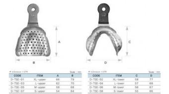 Dental Impression Tray Set, 8 pcs, Edentulous, S.S.
